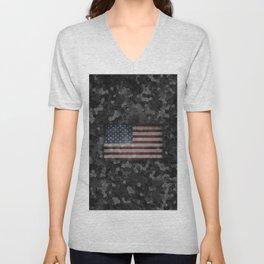 Night Hybrid Patriotic Flag Camo Unisex V-Neck