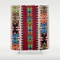 kilim Shower Curtains featuring Kilim pattern 026 by Ranka Stevic