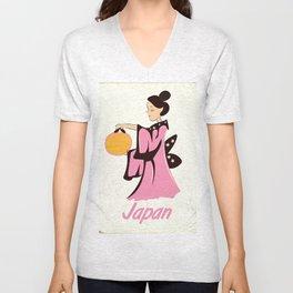 Geisha girl Japan vintage poster Unisex V-Neck