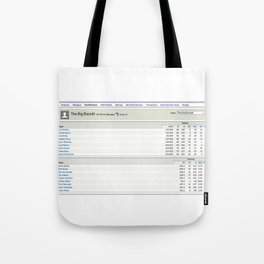 The Big Biscotti - 2010 Winning Fantasy Baseball Roster Tote Bag