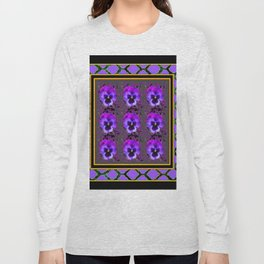 GARDEN OF PURPLE PANSY FLOWERS BLACK & TEAL PATTERNS Long Sleeve T-shirt