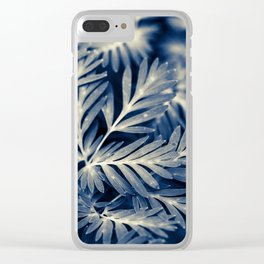 Navy Blue Leaves Clear iPhone Case
