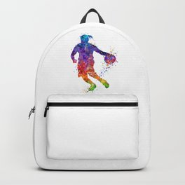Girl Basketball Player Colorful Watercolor Sports Art Gift Backpack