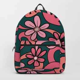 Girly Groovy Pink Coral Green 70s Flowers Pattern Backpack