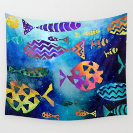 Cosmic Sparkly Fish Under Water Watercolor Wall Tapestry