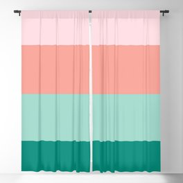 Soft Pink  Peach Amber Yucca and Arbor Green Horizontal Stripes Blackout Curtain