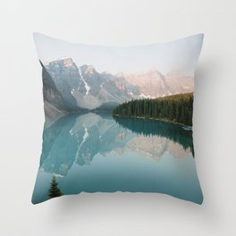 Pastel Sunrise over Moraine Lake Throw Pillow