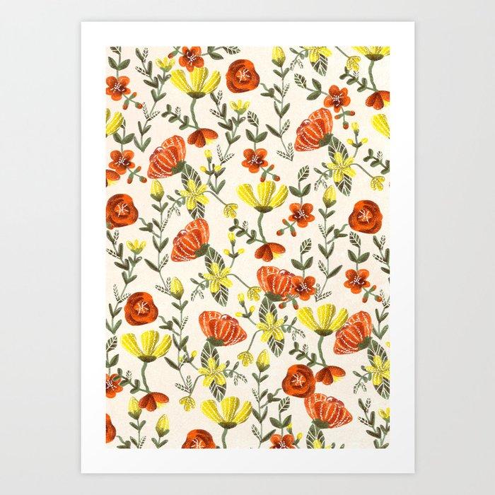 Colorful Garden Pattern Art Print