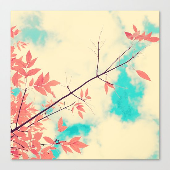Pink fall leafs on retro vintage sky  Canvas Print
