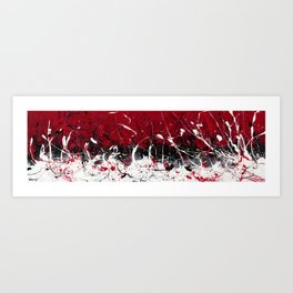 Groove In The Fire - Black and red abstract splash painting by Rasko Art Print
