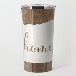 Oregon is Home - White on Wood Travel Mug