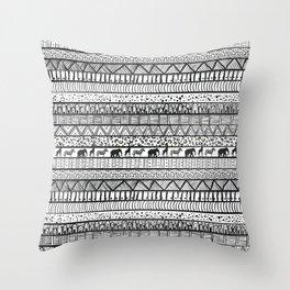 Black White Tribal African Pattern Trendy Design Throw Pillow