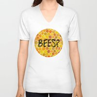 bees V-neck T-shirts featuring BEES? by Cat Coquillette