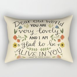 """Anne of Green Gables """"Dear Old World"""" Quote Rectangular Pillow"""
