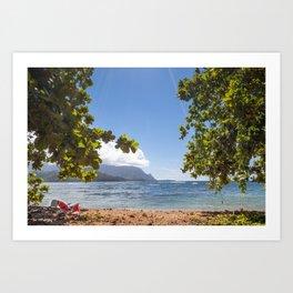 Empty chair on beach overlooking Hanalei Bay in Kauai, Hawaii Art Print