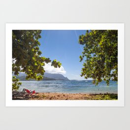 Empty chair on beach overlooking Hanalei Bay in Kauai, Hawaii Art Print