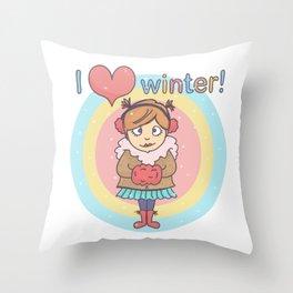 Winter Cutie Throw Pillow