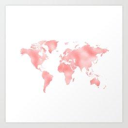 Pink Shiny Metal Foil Rose Gold World Map Art Print
