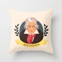 beethoven Throw Pillows featuring Beethoven by Espaco Ilusório