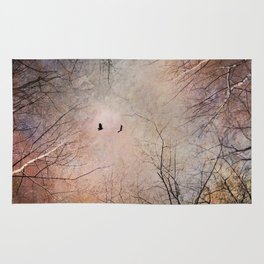 Looking Within - Dramatic sky with birds and trees photo art Rug