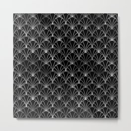 Scallop Shells in Black and Silver Art Deco Vintage Foil Pattern Metal Print