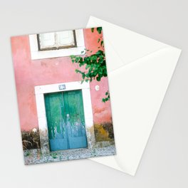 Colorful door in Lisbon Portugal | Fine art travel photography print Stationery Cards