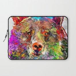 Bear Watercolor Grunge Laptop Sleeve