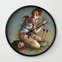 lara croft Wall Clocks featuring Lara by poopbird