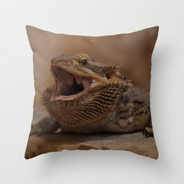 Hissing Bearded Dragon Throw Pillow