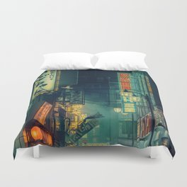 Tokyo Nights / Memories of Green / Blade Runner Vibes / Cyberpunk / Liam Wong Duvet Cover