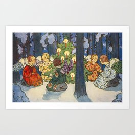Vintage Angels Christmas Tree Card Zdenek Guth Art Print
