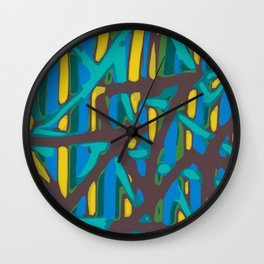 blue yellow green brown painting abstract background Wall Clock