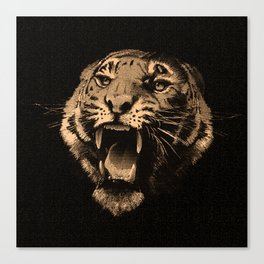 Vintage Tiger in black Canvas Print