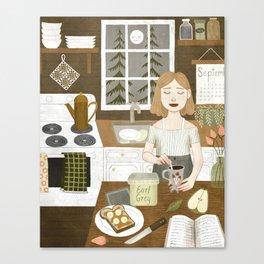 cabin stove Canvas Print