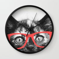 sassy Wall Clocks featuring Sassy Kitten by Allyson Johnson