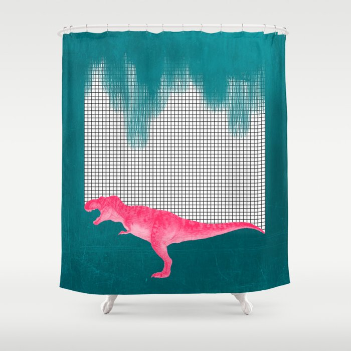 DinoRose - pinky tyrex Shower Curtain