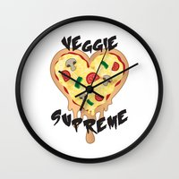 vegetarian Wall Clocks featuring Veggie Supreme - Deluxe Vegetarian Heart Shaped Pizza  by MagicCircle
