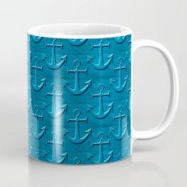 Anchor Pattern On Blue Wood Texture Coffee Mug