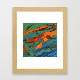 Green, Orange and Blue Abstract Framed Art Print