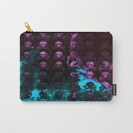 Deaths Frozen Blanket Skulls: Pink And Blue Carry-All Pouch