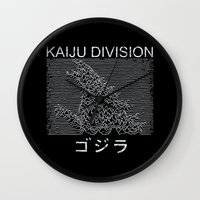 joy division Wall Clocks featuring Kaiju Division by pigboom el crapo