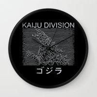 joy division Wall Clocks featuring Kaiju Division by Pigboom Art