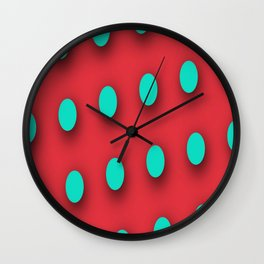 Teal Poka Dots on Strawberry Red Wall Clock