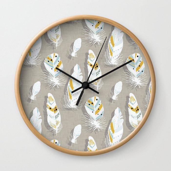 Feathers Beige Wall Clock