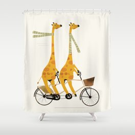 lets tandem giraffes Shower Curtain