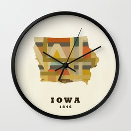 Iowa state map modern Wall Clock