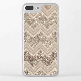 Sepia Glitter Chevron #1 #shiny #decor #art #society6 Clear iPhone Case