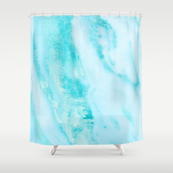 Shimmery Teal Ocean Blue Turquoise Marble Metallic Shower Curtain ...