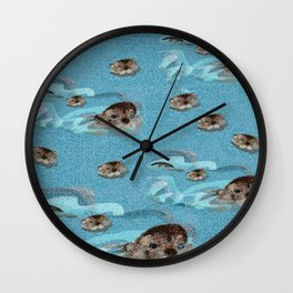 Swiming Otter Pattern in blue (c) 2017 Wall Clock