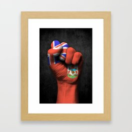 Bermuda Flag on a Raised Clenched Fist Framed Art Print